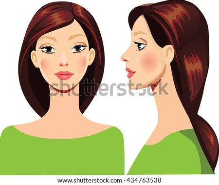 portrait of face girl in straight and profile - stock vector