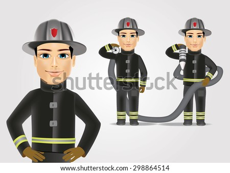 portrait of firefighter in black uniform holding fire hose isolated over white background - stock vector