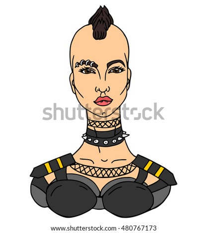Portrait of Glamour and Stylish Young Punk Woman. Vector illustration.