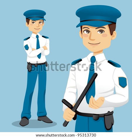 Portrait of handsome professional policeman standing and handling a police side handle baton - stock vector
