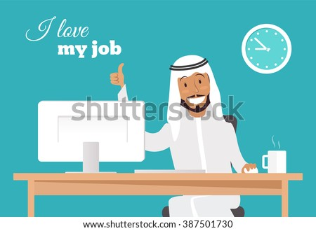 Portrait of handsome relaxed arabic businessman at his desk doing thumb up sign and smiling. I love my job concept.  - stock vector