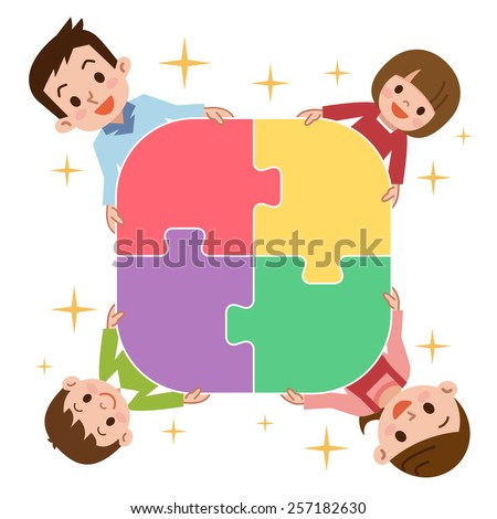 Portrait of happy family joining puzzle pieces at home - stock vector