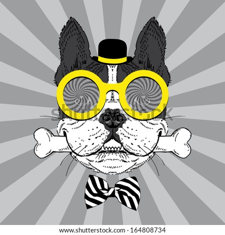 Portrait of Happy French Bulldog in bowler hat, big round glasses and striped bow with bone - stock vector
