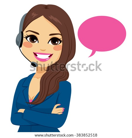 Portrait of happy smiling latina call center operator woman on support phone with headset isolated on white background - stock vector