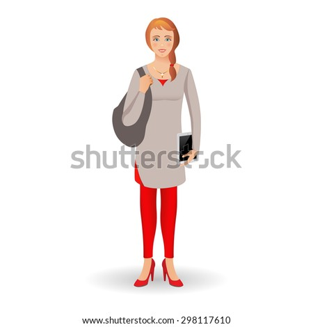 Portrait of happy smiling student or young women standing with tablet isolated on white background.  Vector illustration.  Full body young women isolated on white background. - stock vector