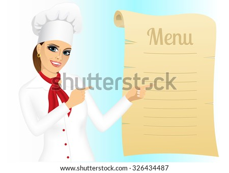 portrait of happy young female chef pointing at menu