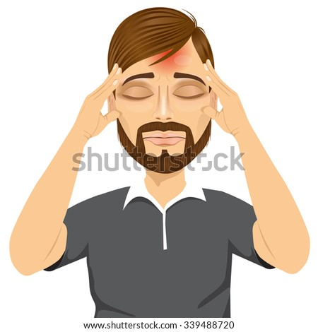 portrait of hipster man touching his temples suffering a terrible and painful headache isolated over white background - stock vector
