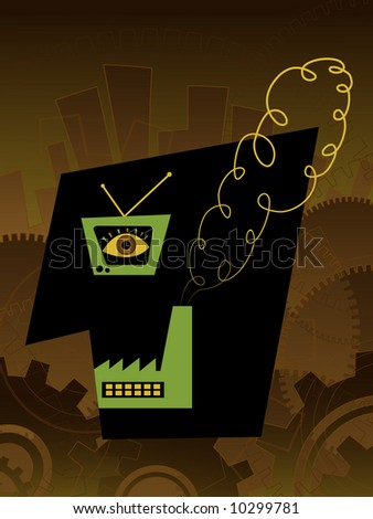 Portrait of industrial era. - stock vector