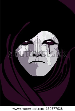 Portrait of infernal character - stock vector