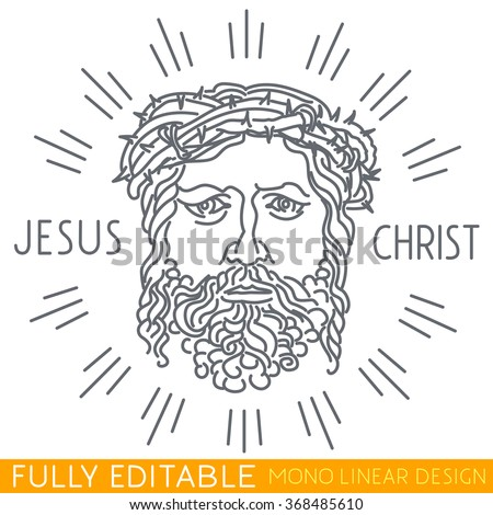Portrait of Jesus Christ with a crown of thorns. Thin line logo template. Fully editable curves. Mono linear pictogram of outline symbol. Stroke vector icon concept. - stock vector