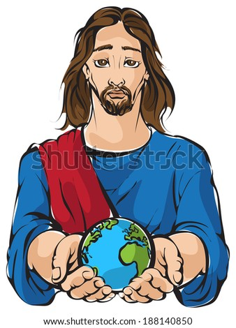 Portrait of Jesus holding the hands planet Earth with white background. Earth at peace theme. Also available raster and outlined version - stock vector