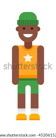 Portrait of school aged afro american boy child isolated on white. Diversity people one male youth kid afro american boy vector character. Afro american ethnicity boy adult childhood shirt. - stock vector