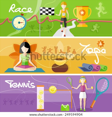 Portrait of sporty girl tennis player with racket in flat design style. Winning athlete female crosses the finish line. Young woman doing yoga. Yoga lotus pose - stock vector