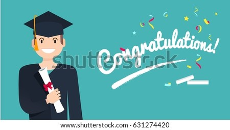 portrait student holding diploma happy graduate stock vector  portrait of student holding diploma happy graduate student diploma in his hand isolated on