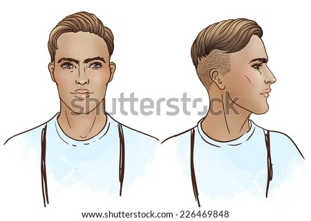 Portrait of stylish fashion bearded man.  Vector illustration.    - stock vector