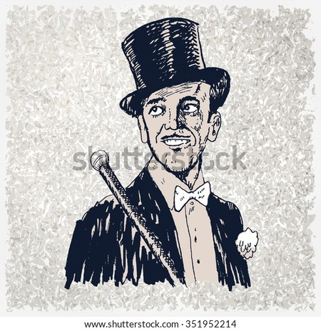 Portrait of the elegant cheerful man. Art Deco and Nouveau Epoch. The gentleman in a tuxedo and a top hat, holds a cane in hand. Hand drawn vector illustration, vintage engraved style