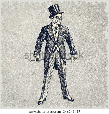 Portrait of the elegant man. Art Deco and Nouveau Epoch. The gentleman in a tuxedo and a top hat, holds a cane in hand. Hand drawn vector illustration. Vintage engraved style