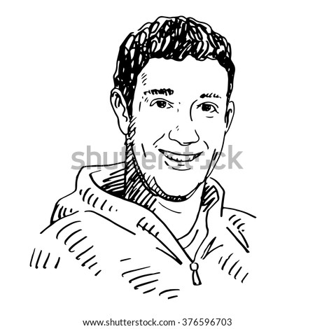 Portrait of the Facebook CEO Mark Zuckerberg. Vector freehand pencil sketch. Moscow, October 01, 2012.