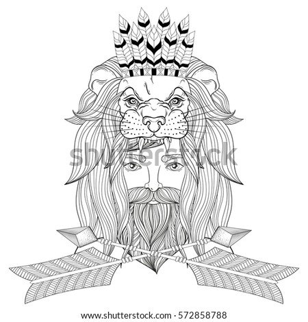 coloring page for adults portrait of the vintage man with lion head mask with war bonnet and floral wreath