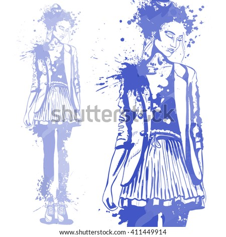 Portrait of trendy look girl. Vector hand  drawing by water color splashes. Fashion style