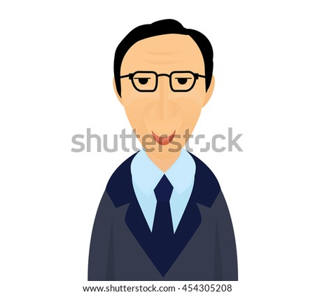 Portrait of white man in glasses and suite. Smart man flat illustration.