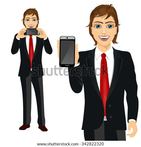 portrait of young attractive businessman displaying his smartphone on horizontal and vertical position
