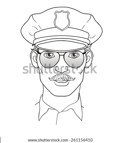 Portrait of young attractive policeman with a mustache and sunglasses. Cap on head. Policeman in uniform - stock vector