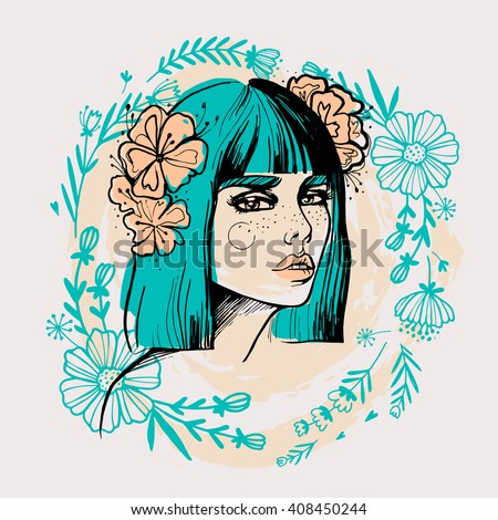 Portrait of young beautiful lady with flowers for t-shirt design or post card. Fashion sketch vector illustration. Summer girl. Summer vacation. Beauty saloon illustration. - stock vector