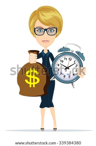 Portrait of young business woman is holding in hands clock and money, isolated on white background, discipline and punctual concept. - stock vector