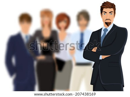 Portrait of young businessman in suit with blurred business team vector illustration