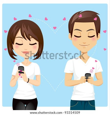 Portrait of young couple sending love messages using cellphone wireless communications - stock vector