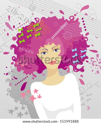 Portrait of young fashionable girl with an unusual hairstyle on grey background - stock vector