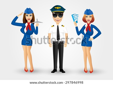 portrait of young friendly pilot with sunglasses and two stewardesses isolated over white background - stock vector