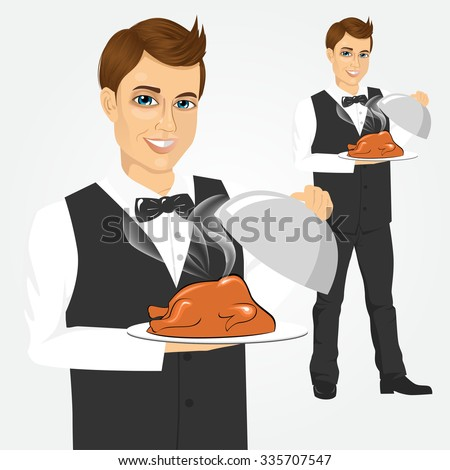 Portrait of young handsome waiter with tray serving roasted poultry