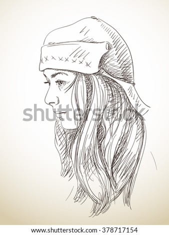 Portrait of young woman in hat, Hand drawn sketch
