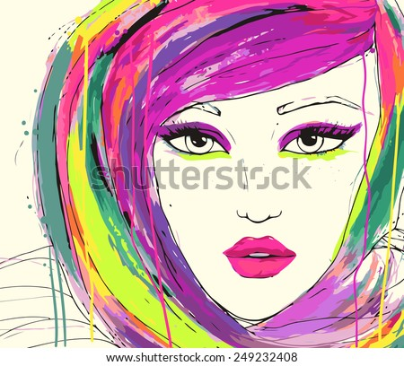 portrait of young woman with bright make up and multicolored hair. Fashion watercolor illustration. - stock vector