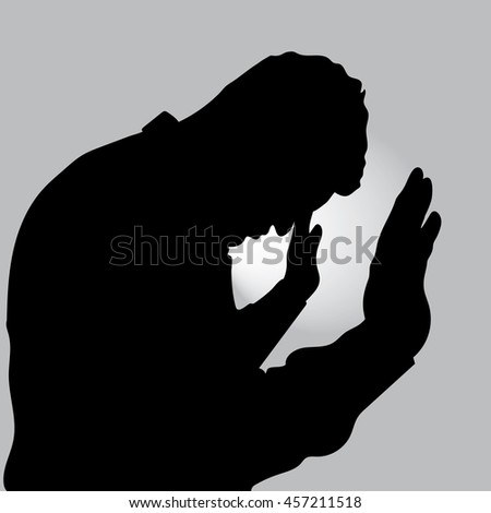 portrait one sad man standing near a wall, Desperate man in silhouette on gray background - stock vector
