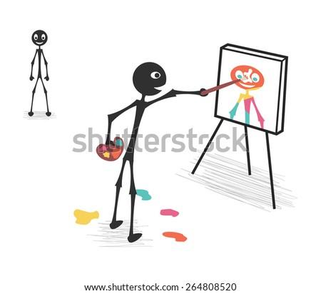 portrait painting - stock vector