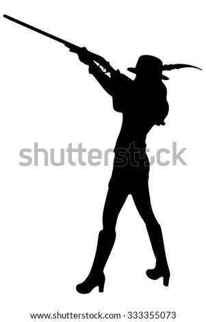 portrait Young beautiful woman hunter with a shotgun in the forest