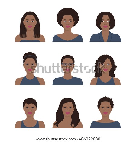 Portraits of a beautiful African American women with various hair style. Set of the vector avatar profiles. Flat icon illustration.