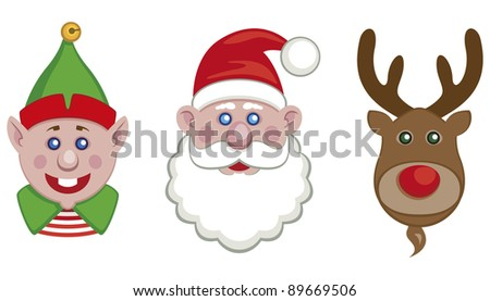 Portraits of Santa, helper elf and reindeer isolated on white background - vector - stock vector