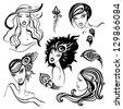 Portraits set of beautiful women. Retro Style. Vector  Illustration. - stock vector