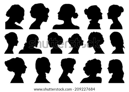 portraits women profile on the white background - stock vector