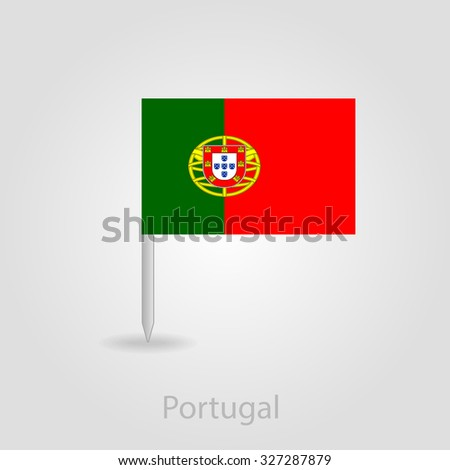Portugal Flag Pin Map Icon Isolated Stock Vector - Portugal map icon