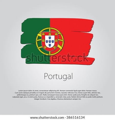 Portugal Flag with colored hand drawn lines in Vector Format - stock vector
