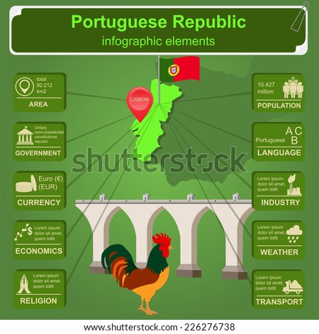 Portugal  infographics, statistical data, sights. Vector illustration - stock vector