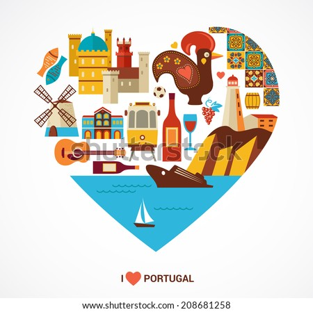 Portugal love - heart with vector icons and illustration, tourism and travel concept - stock vector