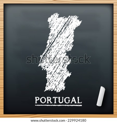 Portugal map chalkboard design effect in vector format - stock vector