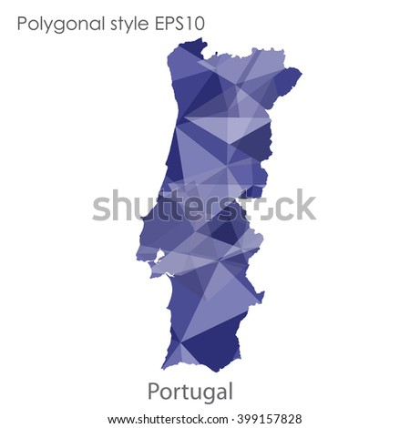 Portugal map in geometric polygonal style.Abstract triangle,modern design background.