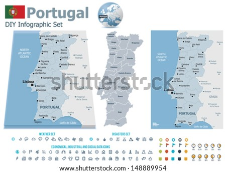 Portugal maps with markers - stock vector